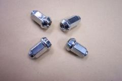 WH. Chrome Wheel Nuts, Beveled Base (set of 4)